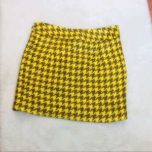 The Limited Yellow Houndstooth Skirt w/Pockets